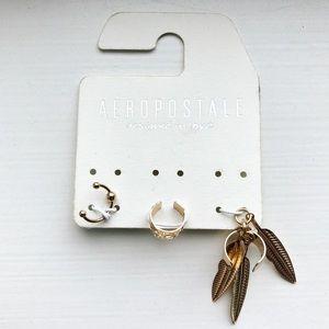 Set of 3 brassy gold boho ear cuffs
